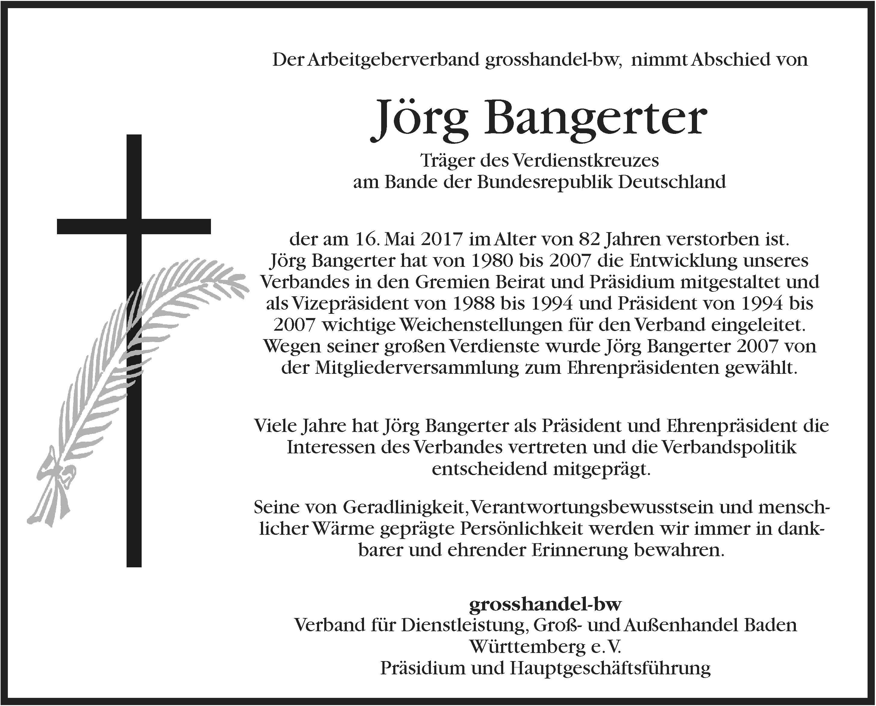 Nachruf Jörg Bangerter grosshandel-bw